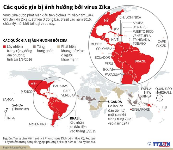 Các quốc gia bị ảnh hưởng bởi virus Zika