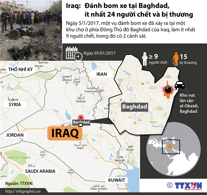 Iraq: Đánh bom xe tại Baghdad, ít nhất 24 người chết và bị thương