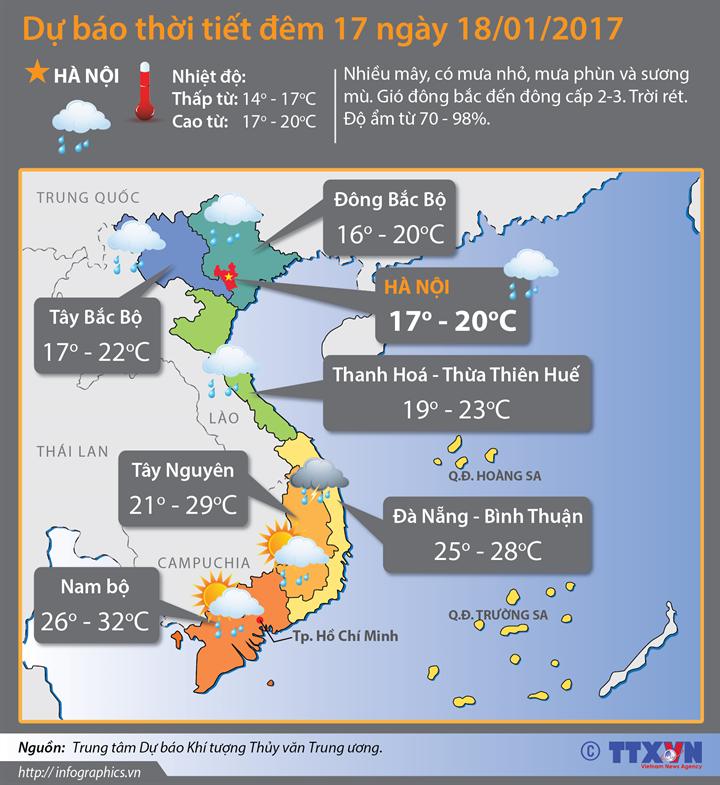 Dự báo thời tiết đêm 17 ngày 18/1/2017: Bắc Bộ chuẩn bị đón không khí lạnh tăng cường