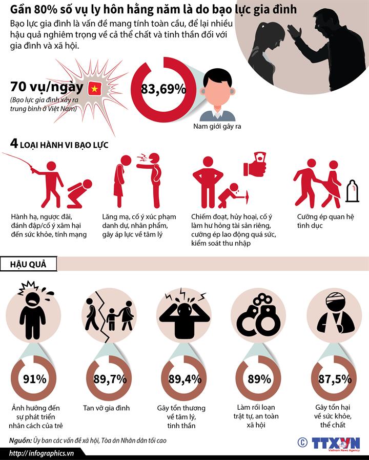 Gần 80% số vụ ly hôn hằng năm là do bạo lực gia đình