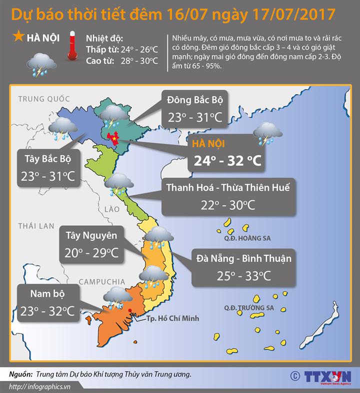 Dự báo thời tiết đêm 16 ngày 17/7:  Bão sắp đi vào đất liền các tỉnh từ Thanh Hóa đến Hà Tĩnh