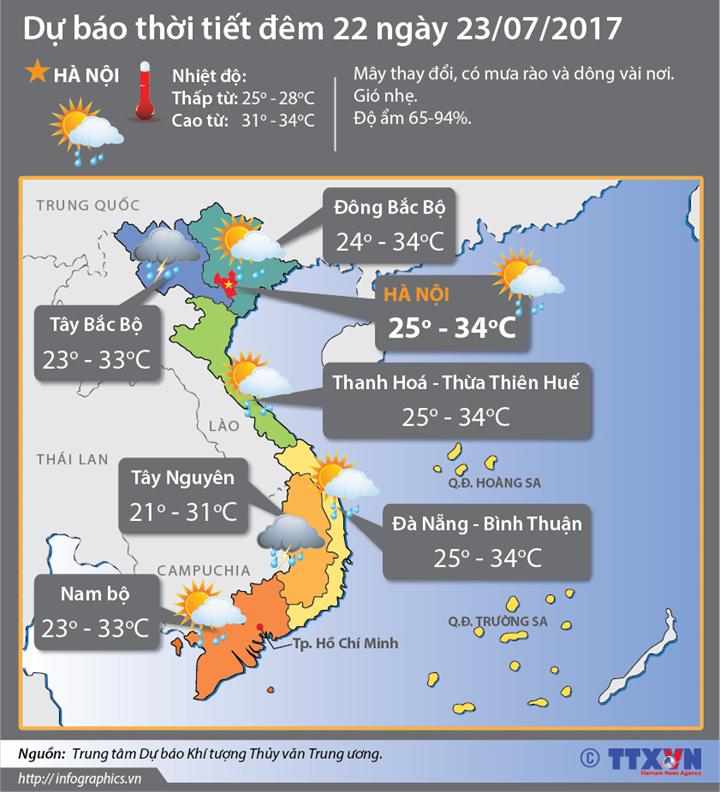 Dự báo thời tiết đêm 22 ngày 23/7:  Bão số 3 và áp thấp nhiệt đới hoành hành trên Biển Đông
