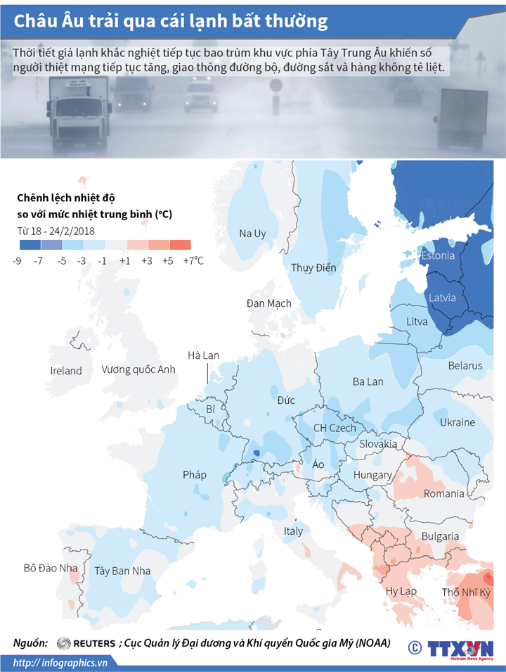 Châu Âu trải qua cái lạnh bất thường