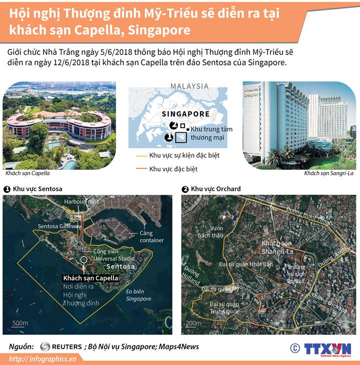 Hội nghị Thượng đỉnh Mỹ-Triều sẽ diễn ra tại khách sạn Capella, Singapore