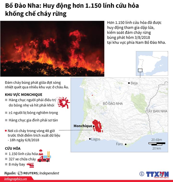 Bồ Đào Nha: Huy động hơn 1.150 lính cứu hỏa khống chế cháy rừng