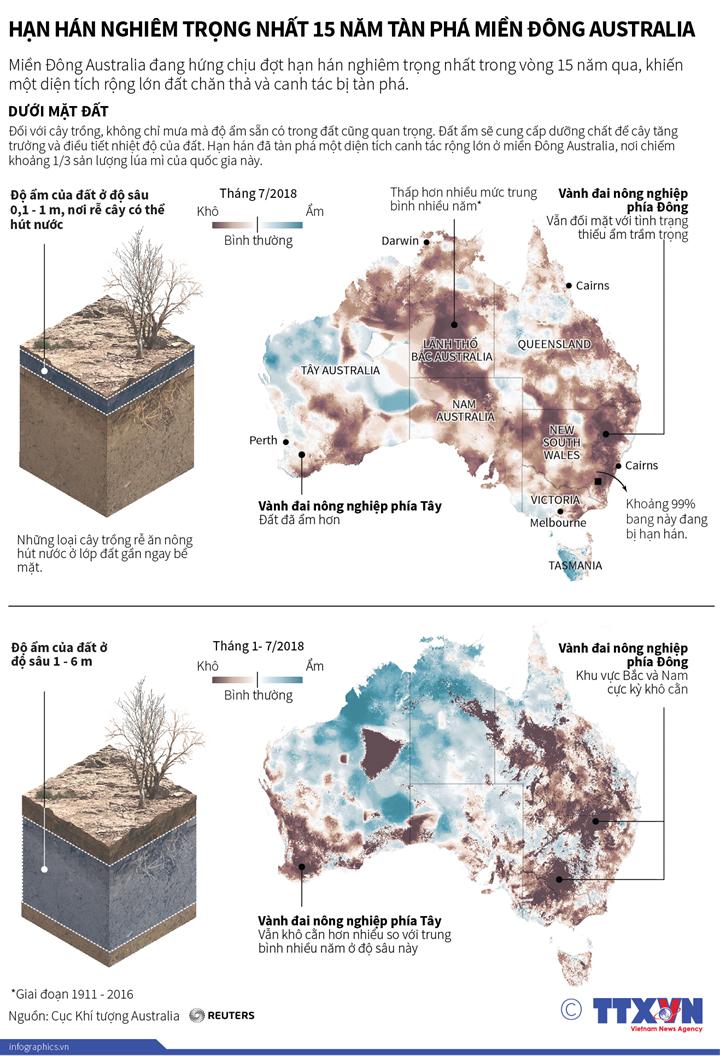 Hạn hán nghiêm trọng nhất 15 năm tàn phá miền Đông Australia