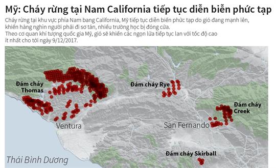 Mỹ: Cháy rừng tại Nam California tiếp tục diễn biễn phức tạp