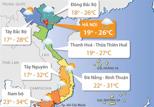 Dự báo thời tiết ngày 21/02/2018: Bắc Bộ ấm áp