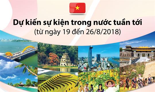 Dự kiến sự kiện trong nước tuần tới (từ ngày 19 đến 26/8/2018)