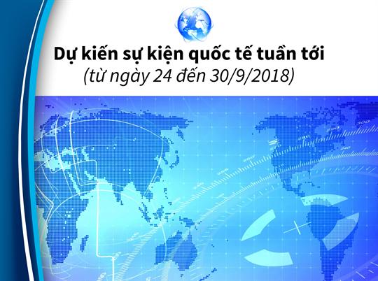 Dự kiến sự kiện quốc tế tuần tới (từ ngày 24 đến 30/9/2018)