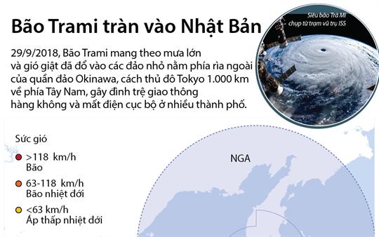 Bão Trami tràn vào Nhật Bản