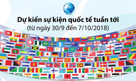 Dự kiến sự kiện quốc tế tuần tới (từ ngày 30/9 đến 7/10/2018)