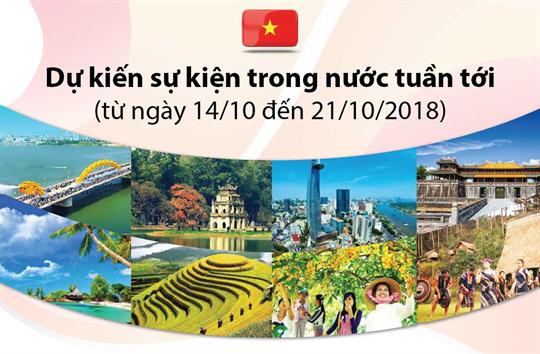 Dự kiến sự kiện trong nước tuần tới  (từ ngày 14 đến 21/10/2018)