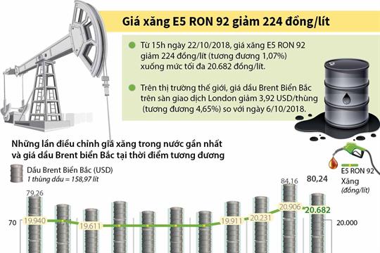 Giá xăng E5 RON 92 giảm 224 đồng/lít
