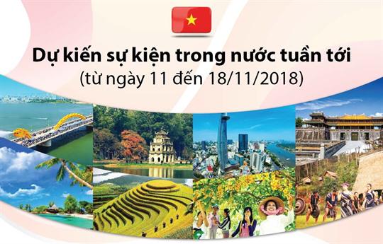 Dự kiến sự kiện trong nước tuần tới  (từ ngày 11 đến 18/11/2018)