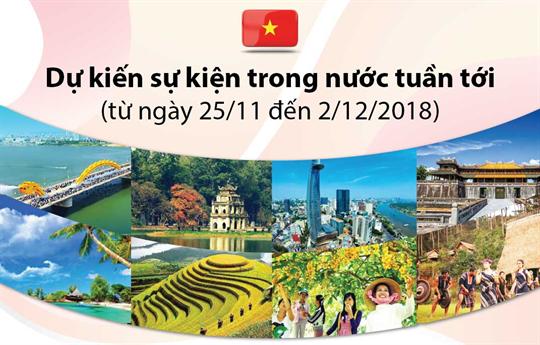 Dự kiến sự kiện trong nước tuần tới  (từ ngày 25/11 đến 02/12/2018)