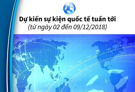 Dự kiến sự kiện quốc tế tuần tới  (từ ngày 02 đến 09/12/2018)