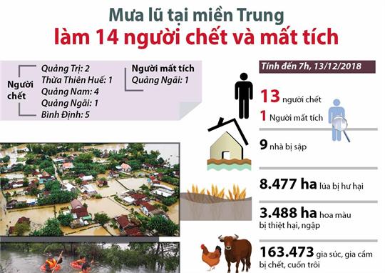 Mưa lũ tại miền Trung làm 14 người chết và mất tích