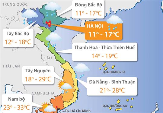 Dự báo thời tiết ngày 13/12/2018: Bắc Bộ nhiệt độ có nơi dưới 5 độ C