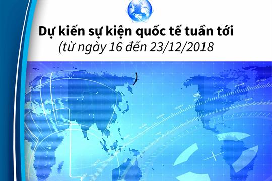 Dự kiến sự kiện quốc tế tuần tới  (từ ngày 16 đến 23/12/2018)