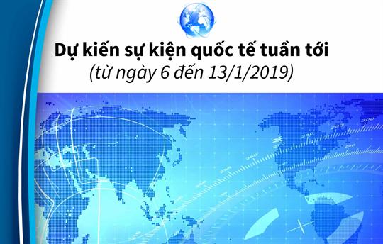 Dự kiến sự kiện quốc tế tuần tới  (từ ngày 6 đến 13/1/2019)