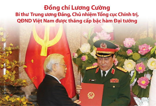 Đồng chí Lương Cường - Bí thư Trung ương Đảng, Chủ nhiệm Tổng cục Chính trị, QĐND Việt Nam được thăng cấp bậc hàm Đại tướng