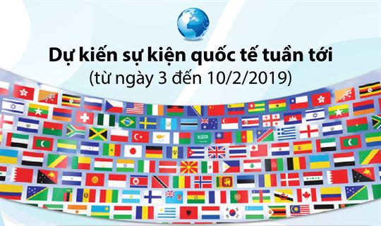 Dự kiến sự kiện quốc tế tuần tới (từ ngày 3 đến 10/2/2019)