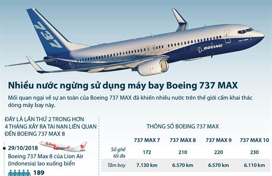 Nhiều nước ngừng sử dụng máy bay Boeing 737 MAX