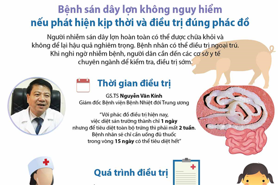 Bệnh sán dây lợn không nguy hiểm nếu phát hiện kịp thời và điều trị đúng phác đồ