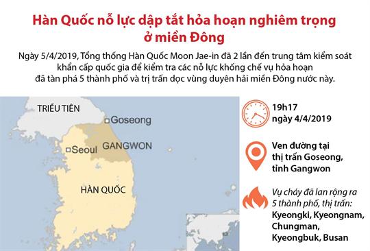 Hàn Quốc nỗ lực dập tắt hỏa hoạn nghiêm trọng ở miền Đông