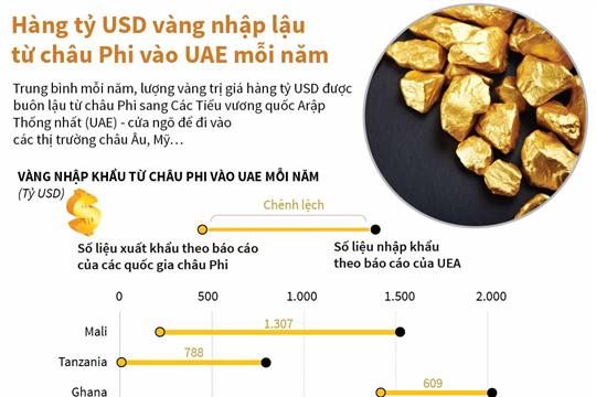 Hàng tỷ USD vàng nhập lậu từ châu Phi vào UAE mỗi năm