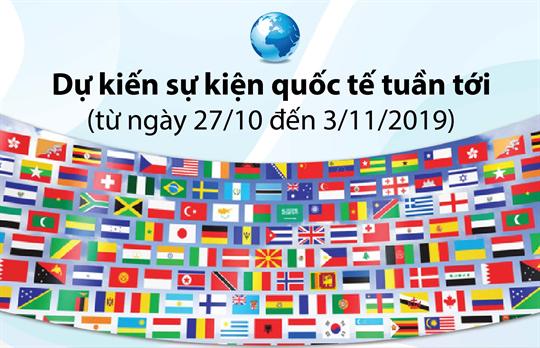 Dự kiến sự kiện quốc tế tuần tới  (từ ngày 27/10 đến 3/11/2019)