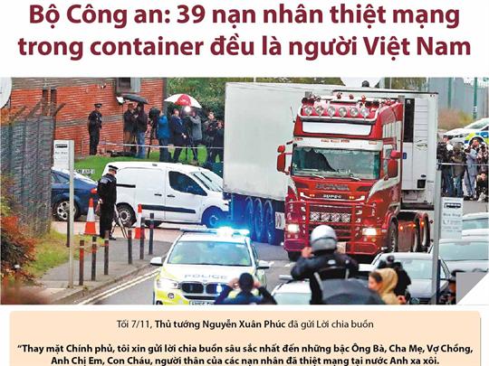 Bộ Công an: 39 nạn nhân thiệt mạng trong container đều là người Việt Nam