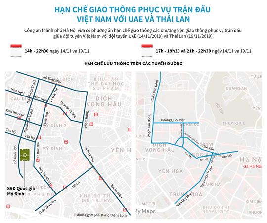 Hạn chế giao thông phục vụ trận đấu Việt Nam với UAE và Thái Lan