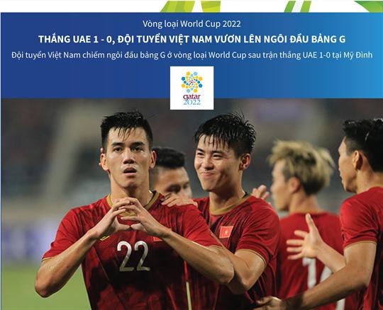Thắng UAE 1 - 0, đội tuyển Việt Nam vươn lên ngôi đầu bảng G