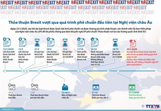 Thỏa thuận Brexit vượt qua quá trình phê chuẩn đầu tiên tại Nghị viện châu Âu
