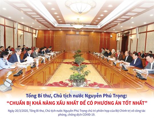 """Tổng Bí thư, Chủ tịch nước Nguyễn Phú Trọng: """"Chuẩn bị khả năng xấu  nhất để có phương án tốt nhất"""""""