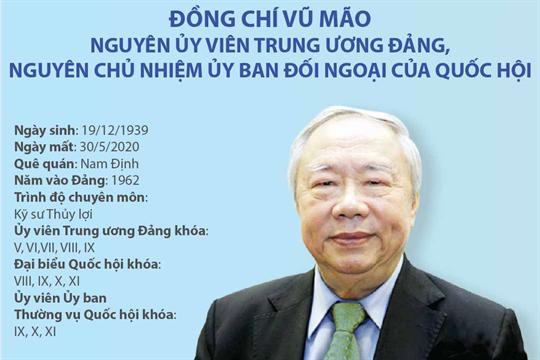 Quá trình công tác của đồng chí Vũ Mão, nguyên Ủy viên Trung ương Đảng, nguyên Chủ nhiệm Ủy ban Đối ngoại của Quốc hội