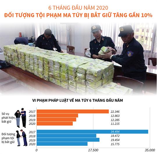 6 tháng đầu năm 2020, đối tượng tội phạm ma túy bị bắt giữ tăng gần 10%