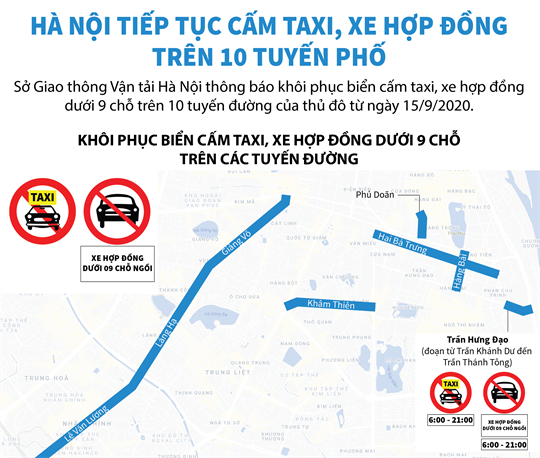 Hà Nội tiếp tục cấm taxi, xe hợp đồng trên 10 tuyến phố