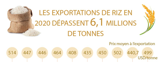 Les exportations de riz en 2020 dépassent 6,1 millions de tonnes
