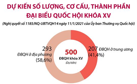 Dự kiến số lượng, cơ cấu, thành phần đại biểu Quốc hội khóa XV (Nghị quyết số 1185/NQ-UBTVQH14 ngày 11/1/2021 của Ủy ban Thường vụ Quốc hội)
