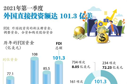 2021年第一季度外国直接投资额达101.3亿美元