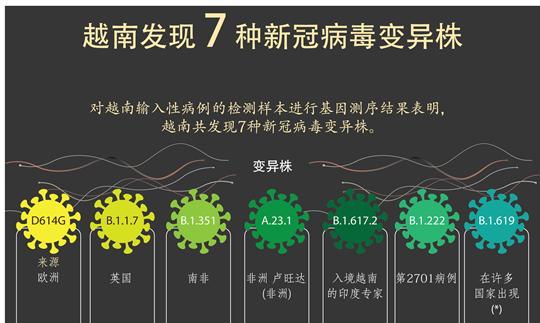 越南发现七种新冠病毒变异株