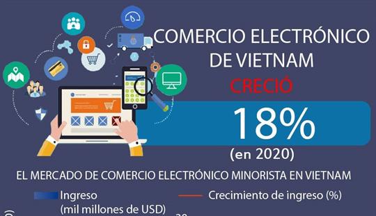 Comercio electrónico de Vietnam reporta crecimiento anual en ingreso