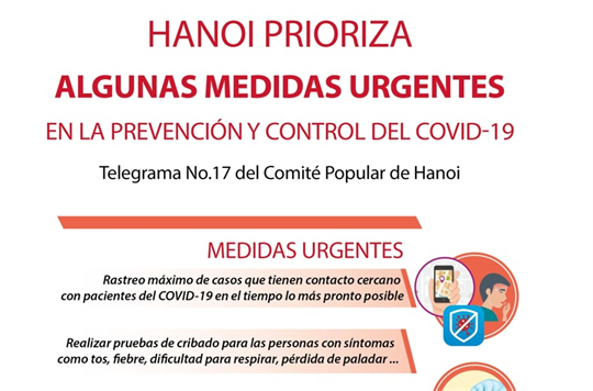 Hanoi prioriza algunas medidas urgentes en la prevención y control del COVID-19