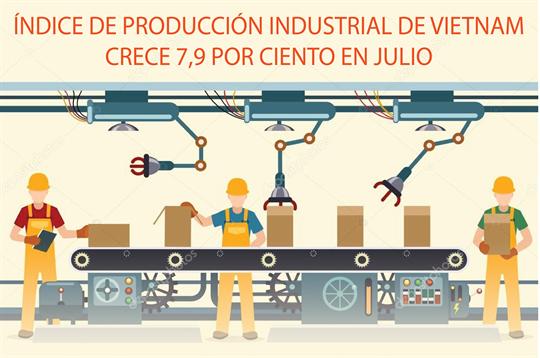 Índice de producción industrial de Vietnam crece 7,9 por ciento en julio