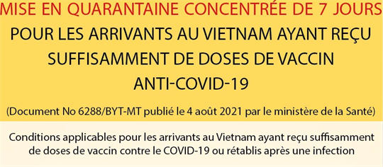 Mise en quarantaine concentrée de 7 jours pour des arrivants au Vietnam