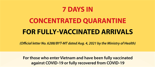 Concentrated quarantine time reduced for fully vaccinated arrivals